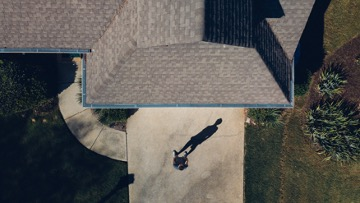 Aerial view of gray roofing shingles