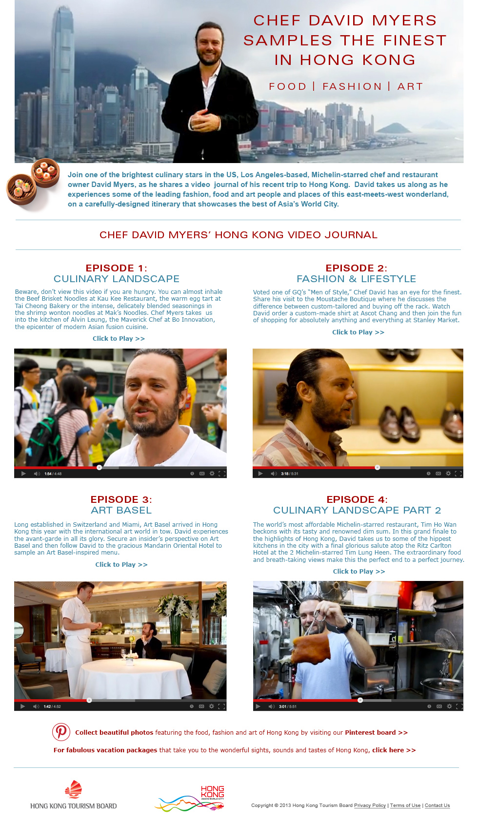 Hong Kong Tourism Board landing page featuring multiple Chef David Myers videos