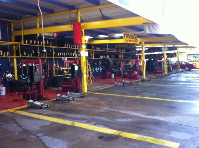 Tire change bays