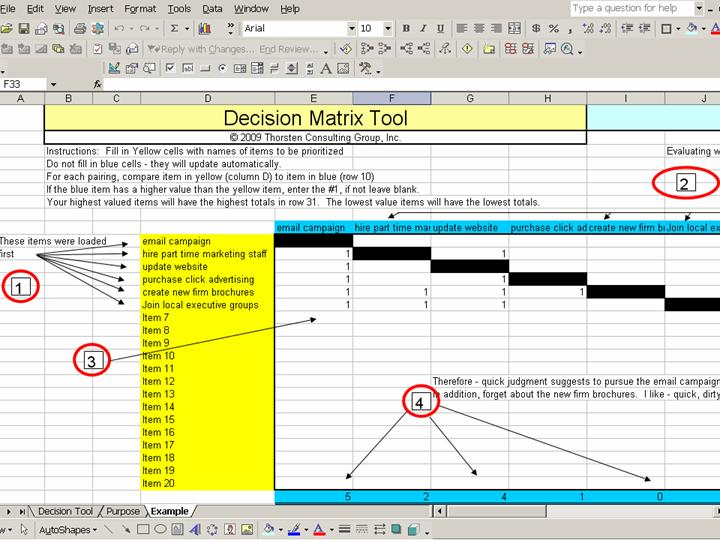Decision Matrix Tool - Excel - Thorsten Consulting Group