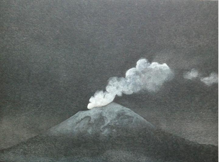 Volcanes Popocatépetl (Night) smoke 2 Gouache y lápiz de color sobre panel 9 x 12 pulgadas