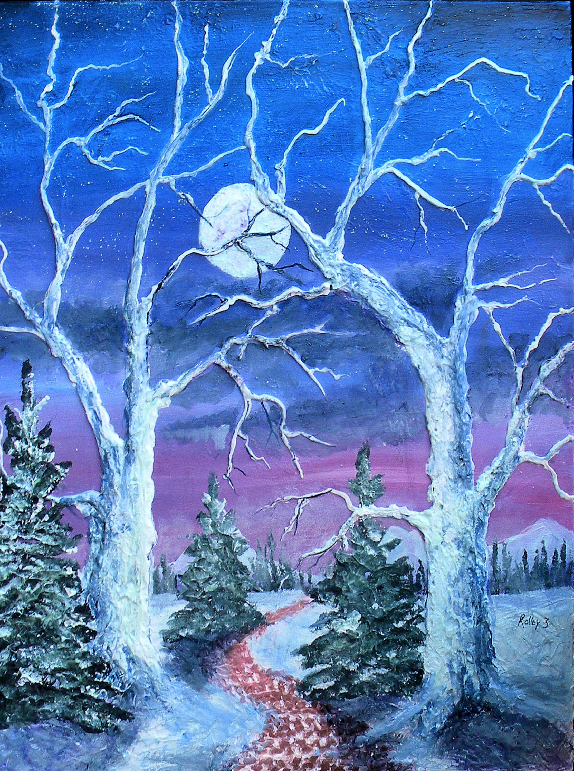 WALKING WARM          24x30   $450   HIGHLIGHTED WITH GLOW IN DARK LUMINESCENT PAINT