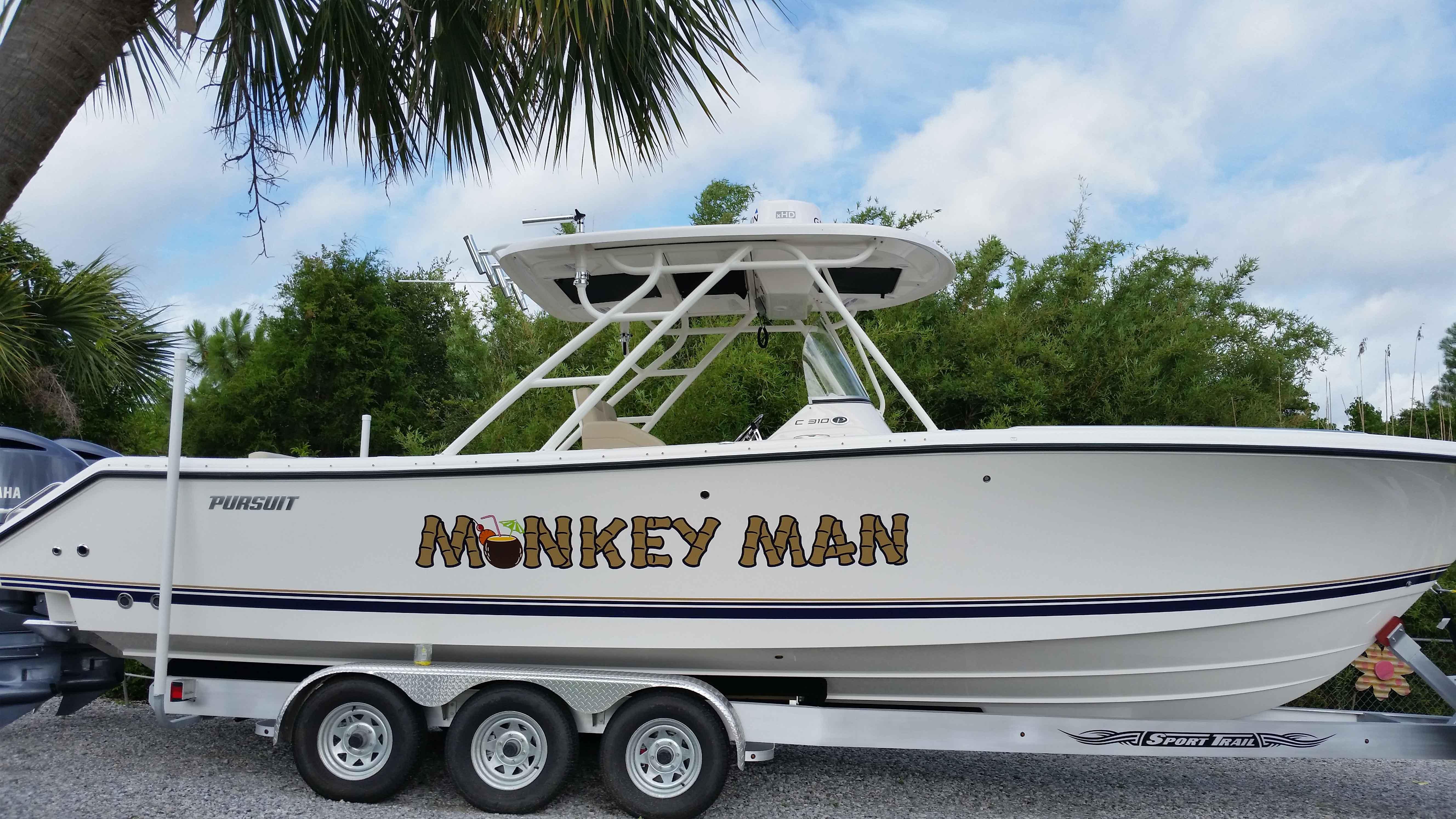 Monkey Man Boat Lettering