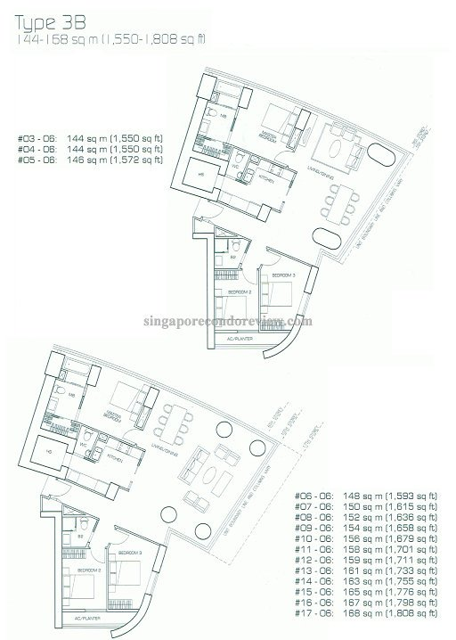 floor plan for stack 6, floors 6-17 1,600-1800sqft
