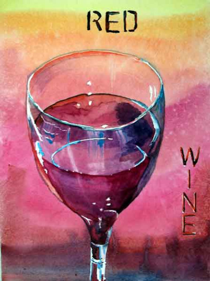Red Wine ..... Watercolour