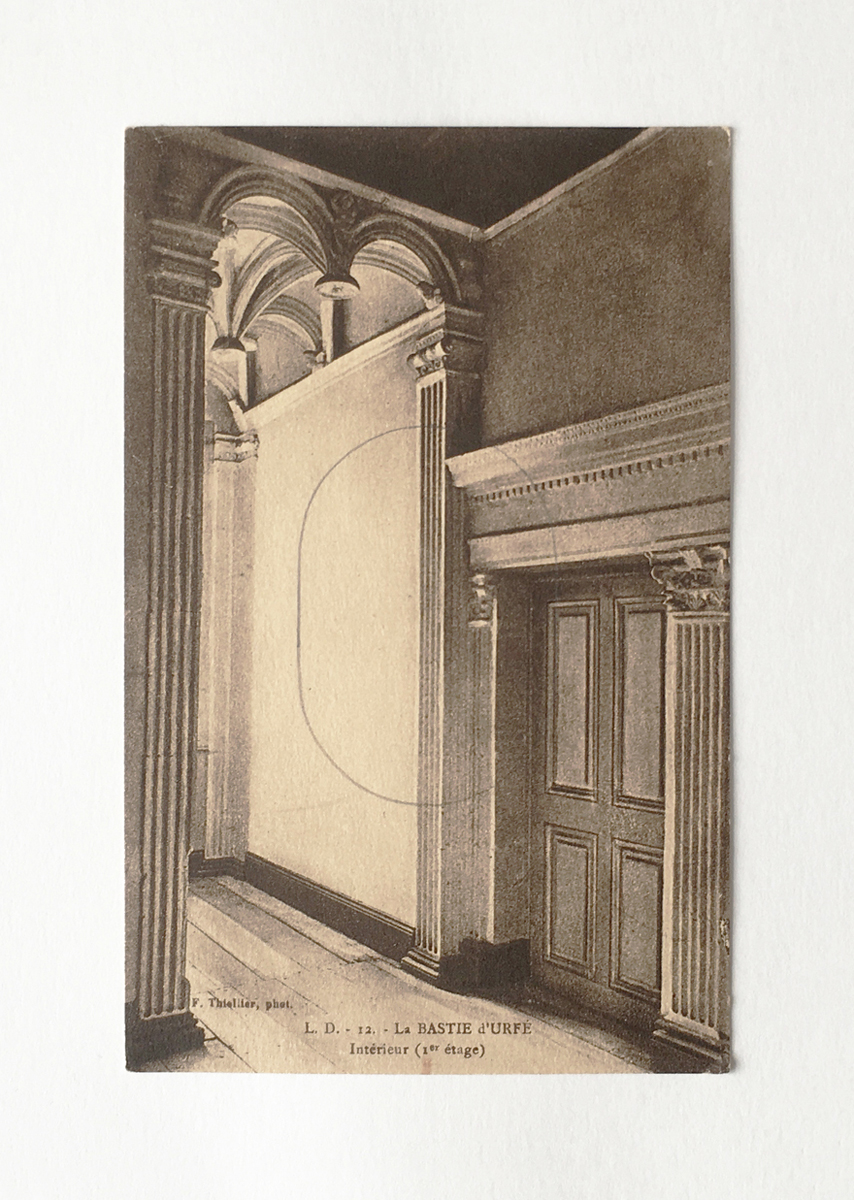 An antique postcard of an ornate interior, with a pencil outline oval added.