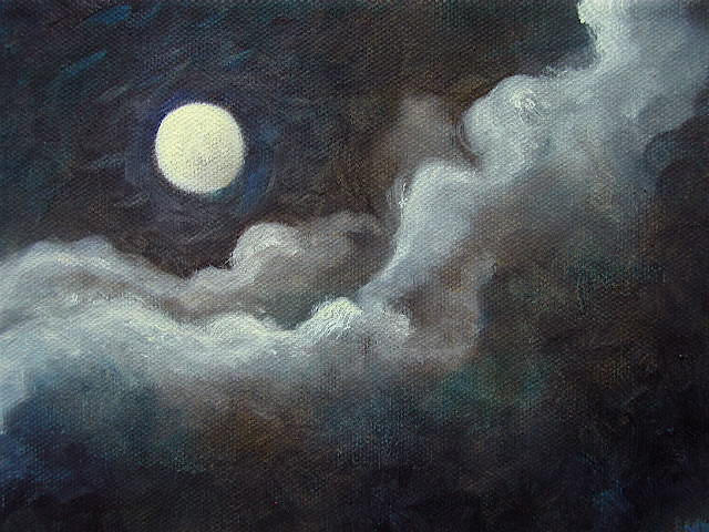 """Moon Magic - 6""""x 8"""" Oil on Stretched Canvas  Sold"""