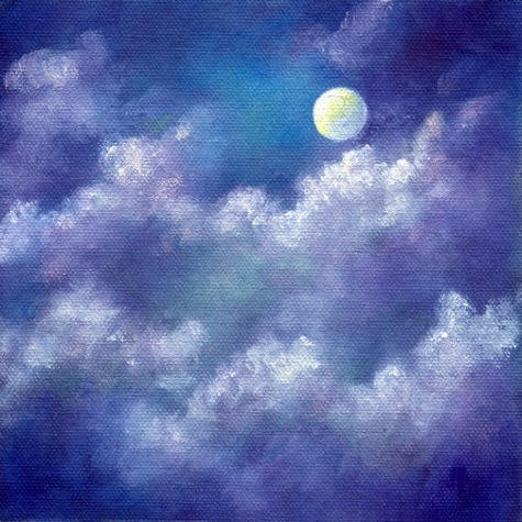 """Moon & Clouds ~ 6""""x6"""" oil on canvas panel    SOLD"""