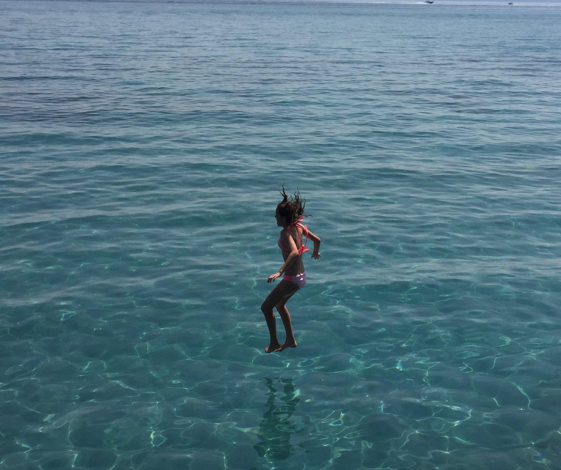Jumping into Lake Tahoe