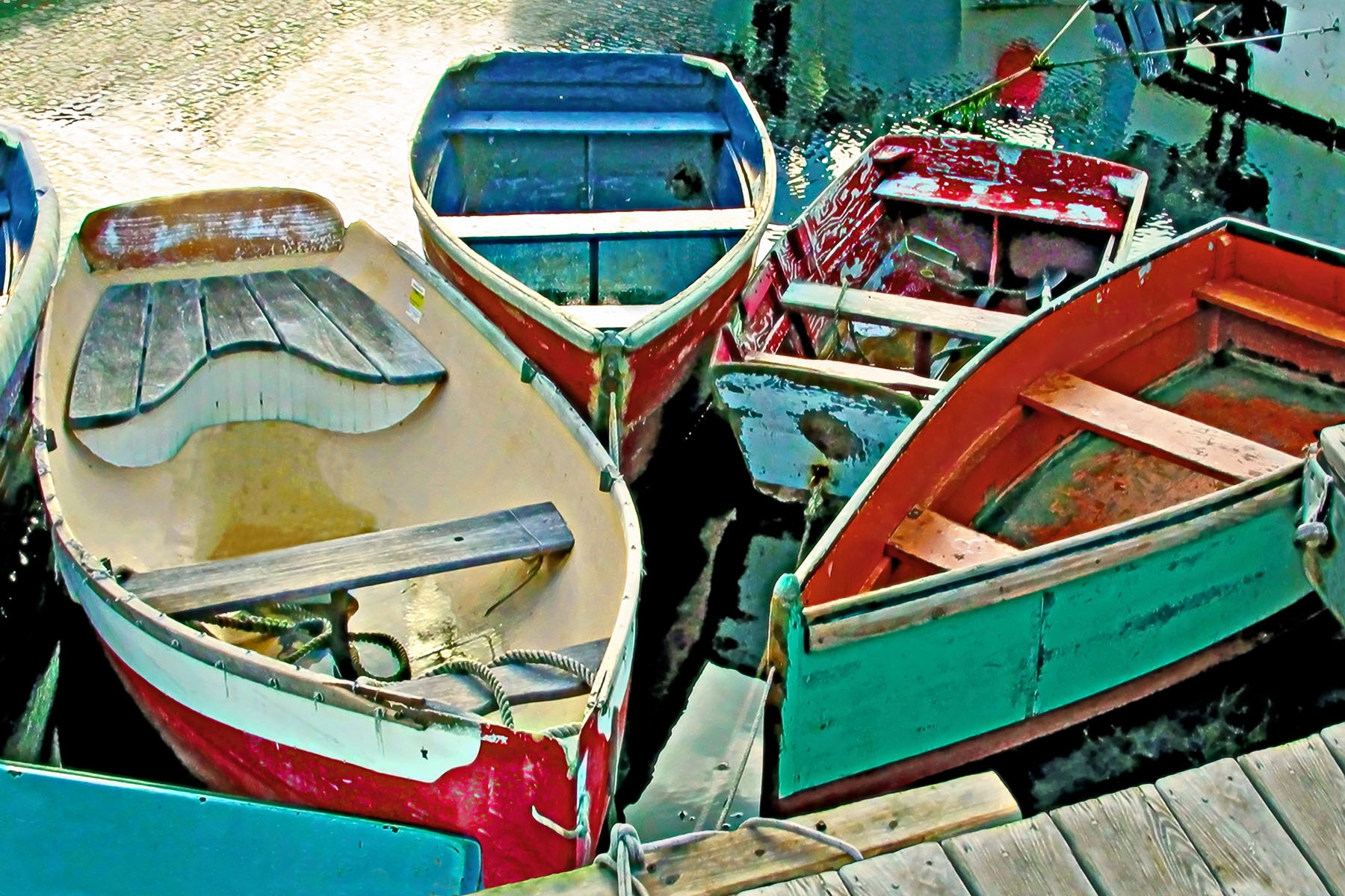 "BOATS - Taken in a small harbor town in Massachusetts. I suppose the correct term could be ""dinghys"", but I call 'em ""BOATS""."