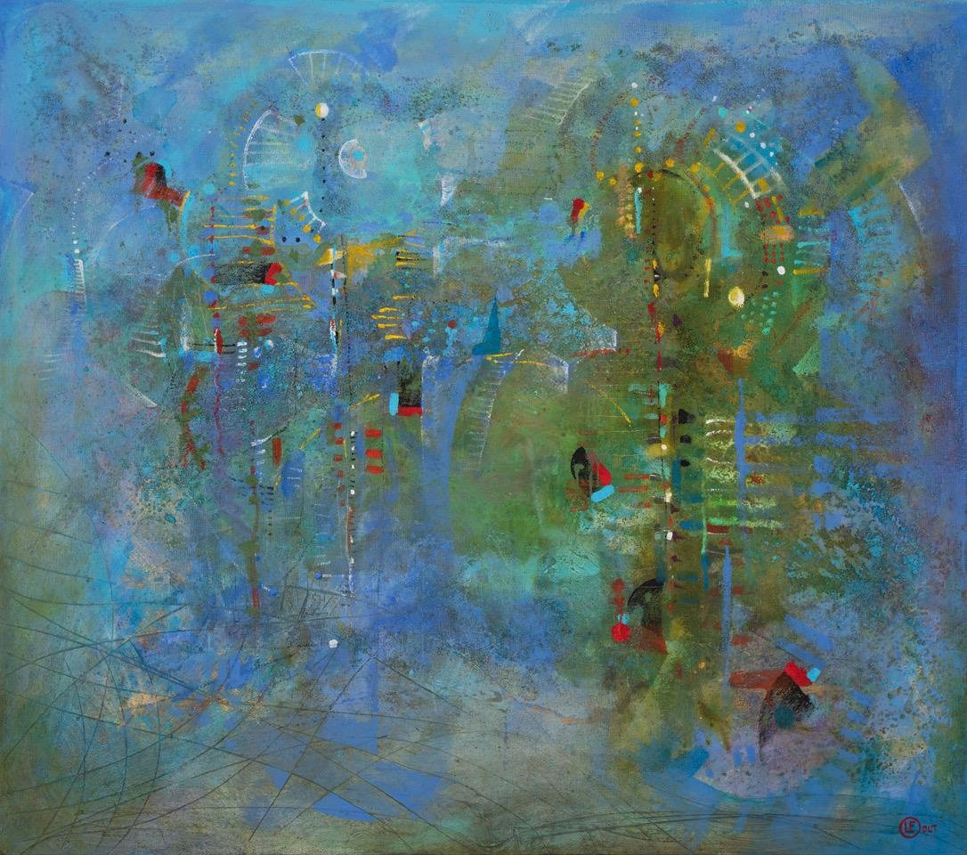 Conversando con Paul Klee técnica mixta s/tela 150 x 170 cms. / 59 x 67 inches