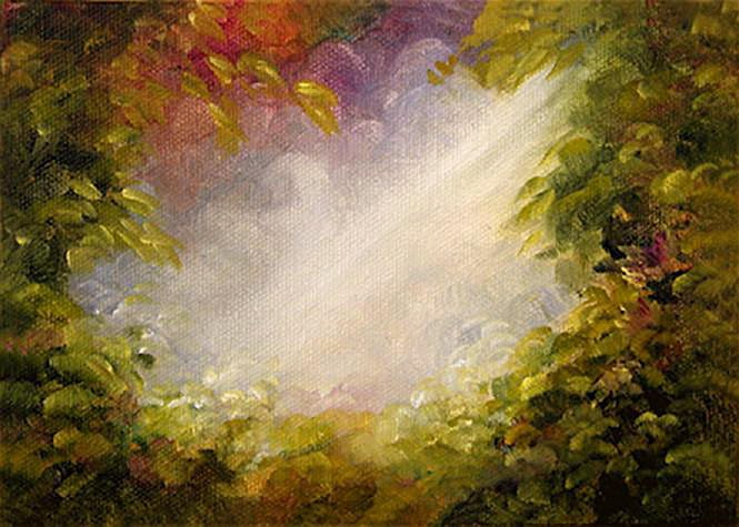 """Approaching Eden - 5""""x 7"""" Oil on Stretched Canvas SOLD Greeting Card Available"""