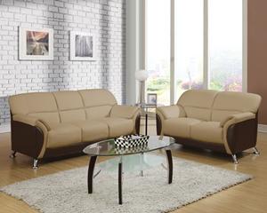 9103 Cream on espresso Sofa, Love Seat, Chair