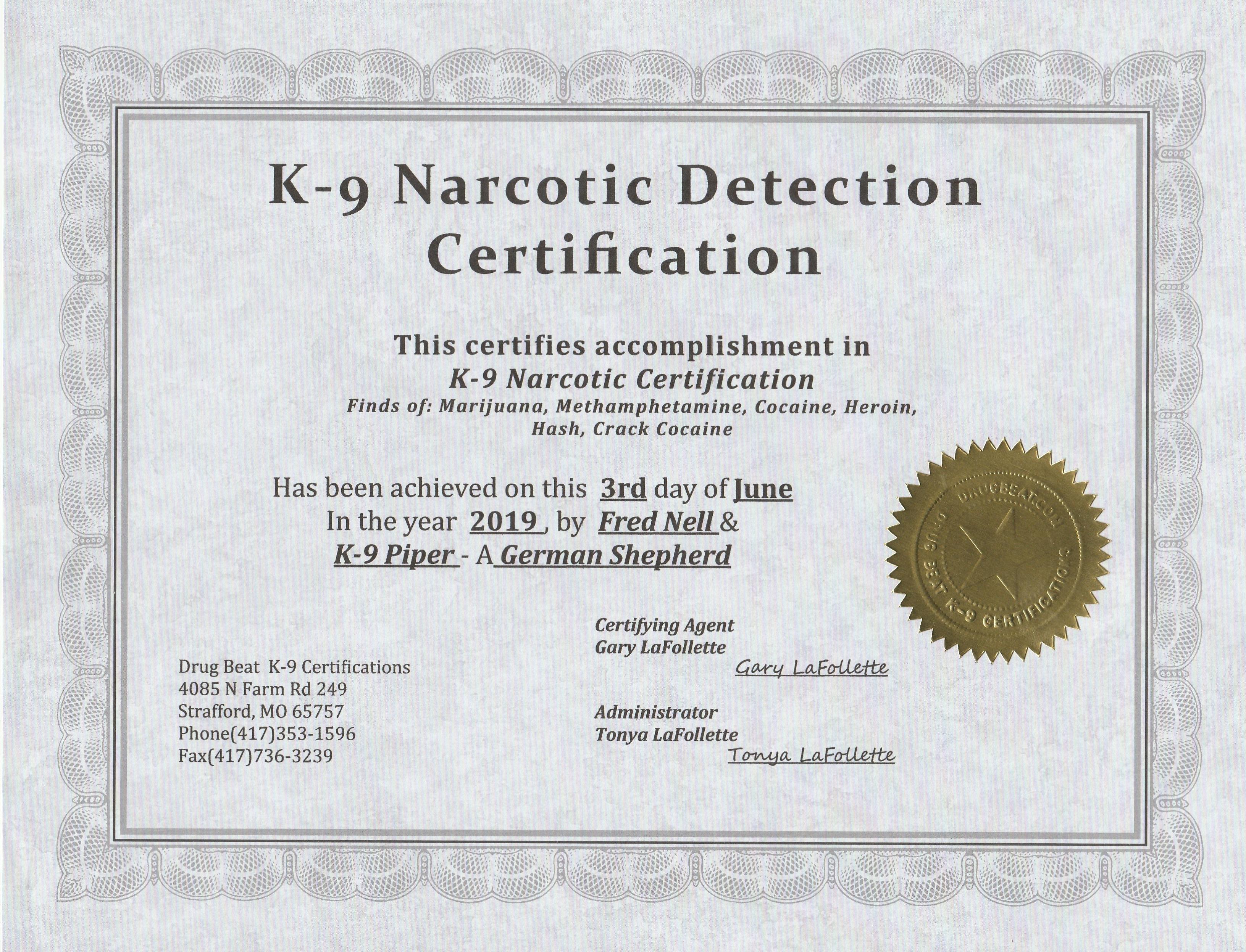 Piper's Certificate