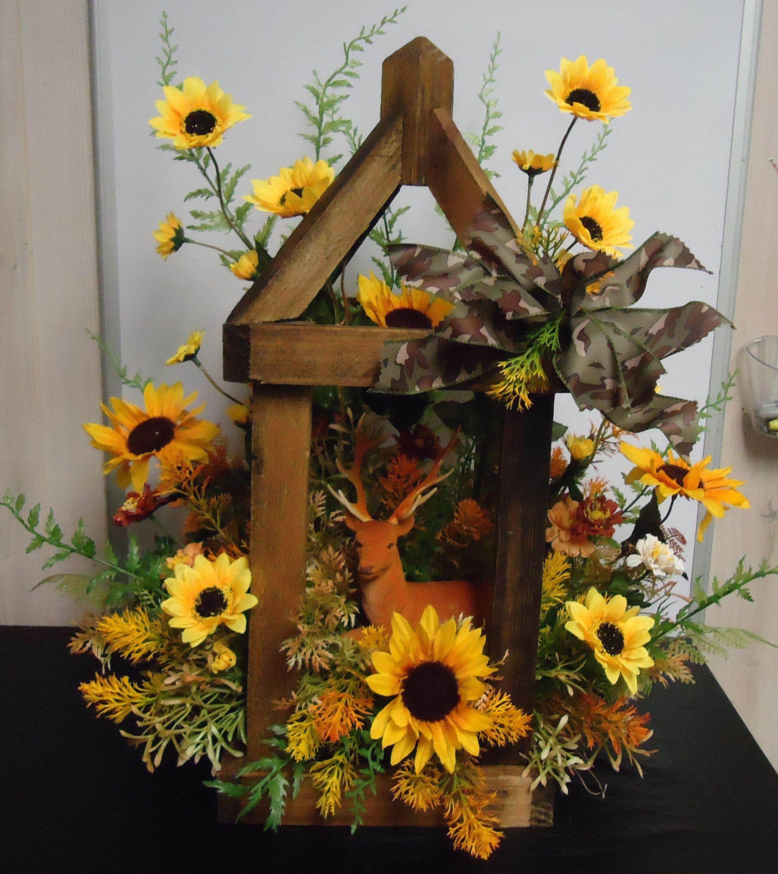 """(35)  """"SILK"""" Sunflower Arrangement W/ Deer $70.00"""