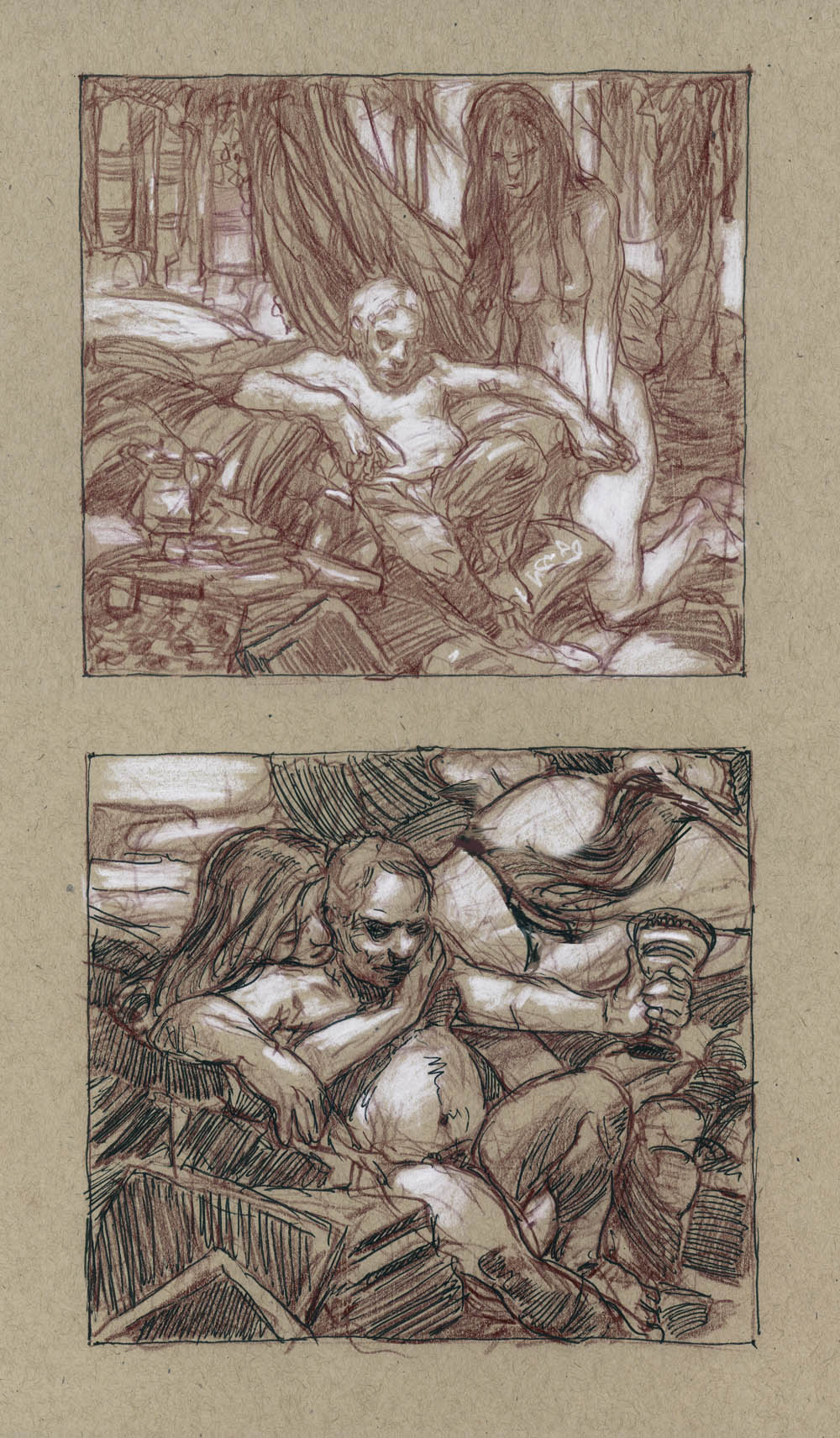 "The Hand - rough concepts 14"" x 11""  Watercolor and chalk on toned paper private collection"