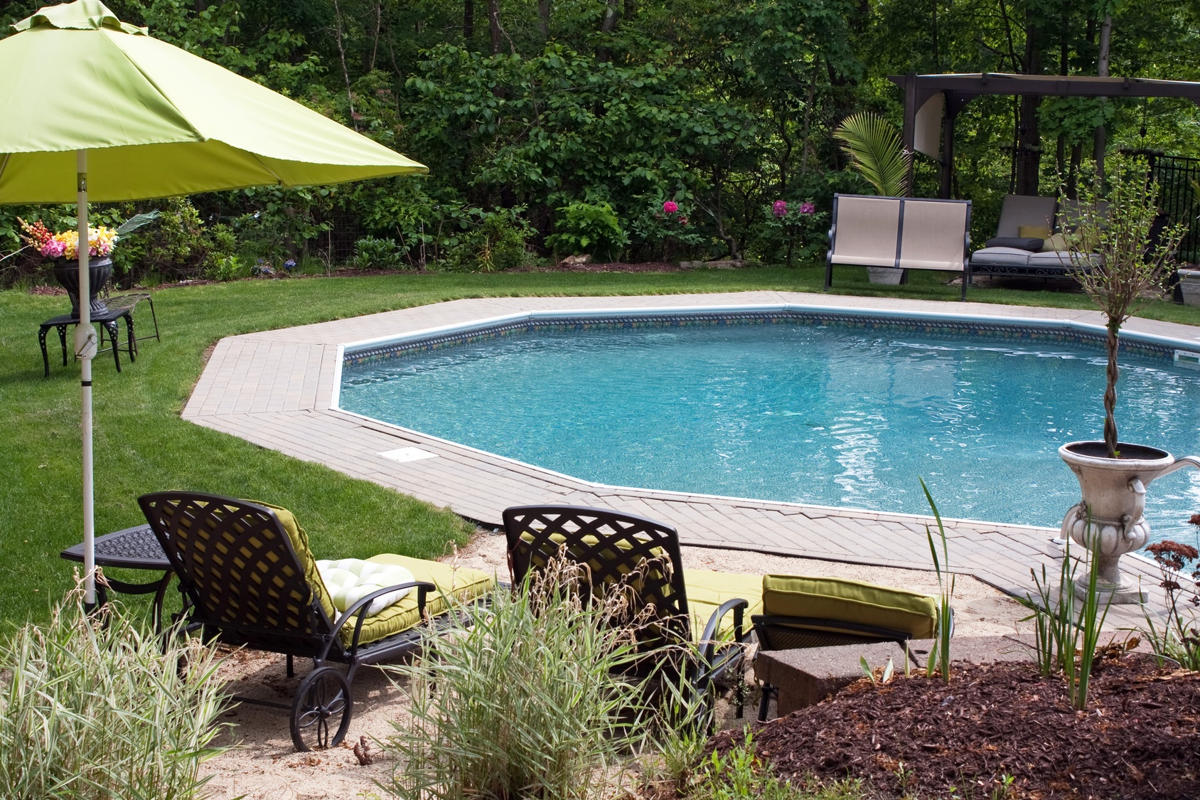 A modern pool features clean lines