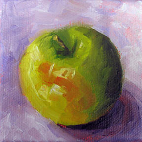 """Little Green Apple ~ 3"""" x 3""""  Oil on Stretched Canvas  $39 SOLD"""