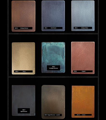 Thermal metal finishes. Metal finish samples in Bronze, copper, pewter, brass. From Artistic Metals.