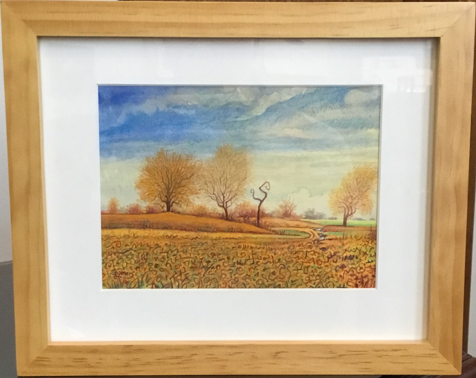 "Joyful Autumn Day watercolor, gouache, & pencil 7"" x 5.5"" $325."