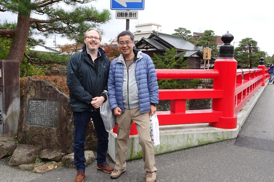 Bus trip - red bridge in Takayama with Takahashi san.