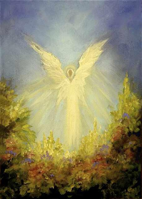 """Angels Garden  5""""x 7"""" Oil on Stretched Canvas  SOLD  Greeting Card Available"""