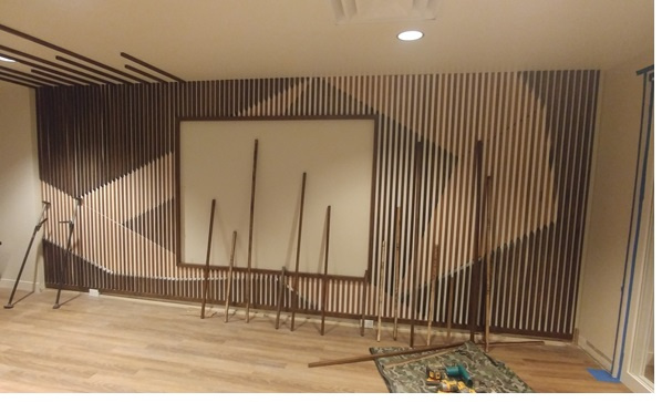 Oak Strip Media Wall - in progress