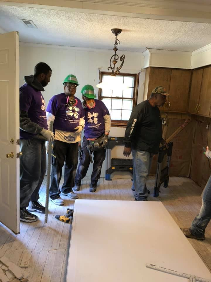 Doing our part to help rebuild houses that was destroyed by Hurricane Matthew. From left to right Vice-President Officer Middleton, Sergeant at Arms Officer Cribbs, (center) Treasurer Officer Bros