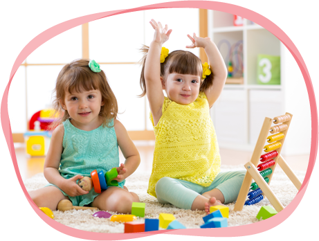 Little Kids Play with Abacus and Constructor Toys