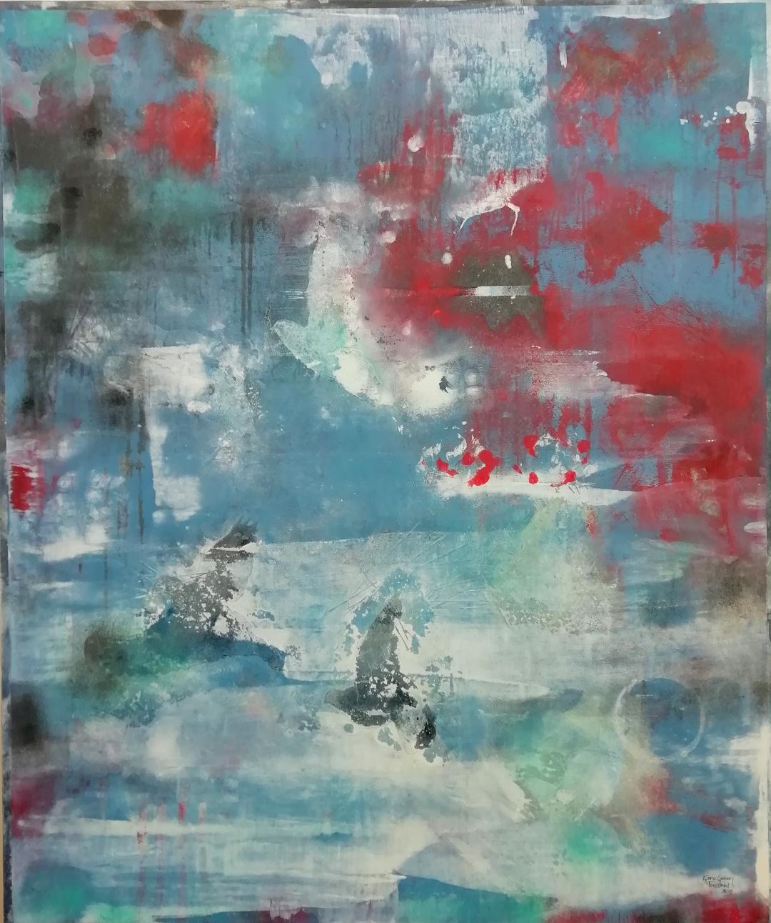 De la serie homenaje a Monet Acrílico, grafito y pigmentos s/tela 120 x 100 cms.
