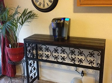 Ornamental Iron and Wooden Table