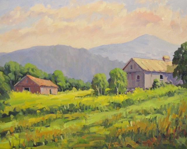 Barns on Black Rock Road, Savoy, MA, 16 x 20, Oil