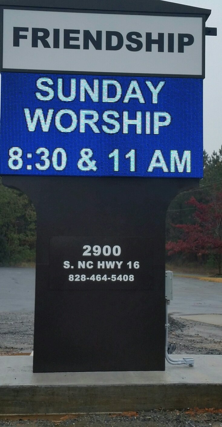 Belton, NC, Friendship UMC, Complete new signage with 4x8 16mm, RGB