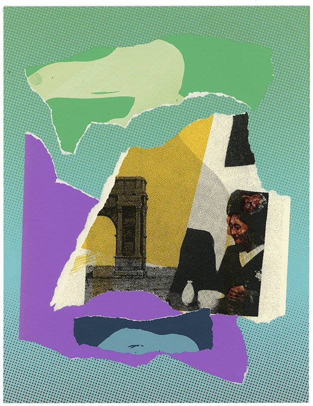 "Triumphal Arch (Epigram) Screenprint with torn and pasted screeprints and chine colle on paper. 8.5"" X 11"""