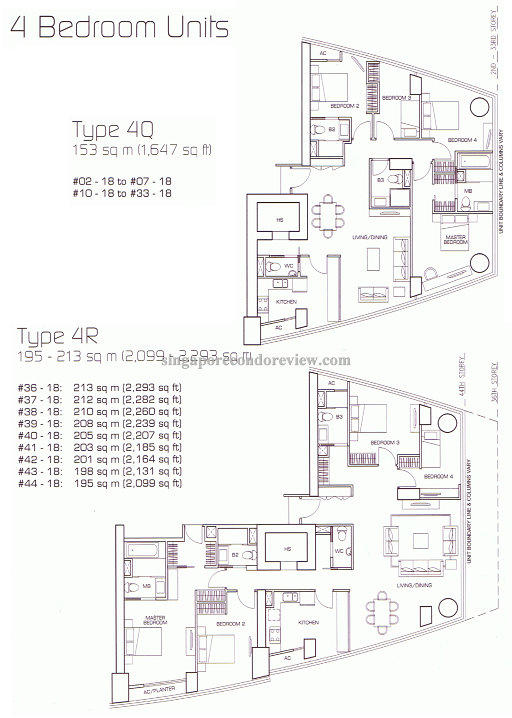 floor plan for stack 18,4 bedroom units 1647-2293 sq ft