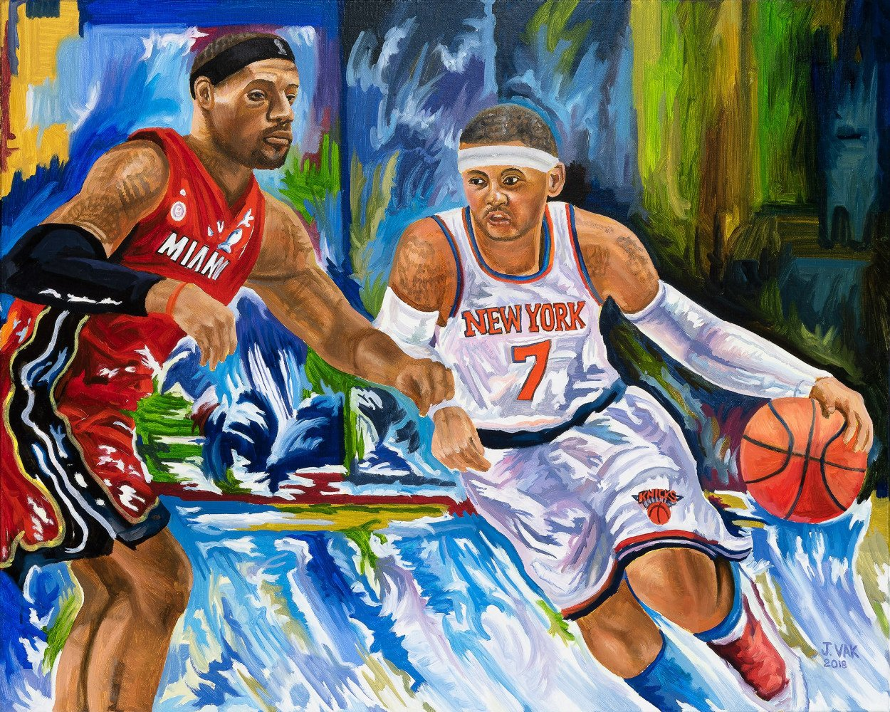 LeBron James and Carmelo Anthony             24 X 30 Original Oil                    $2500                     2018