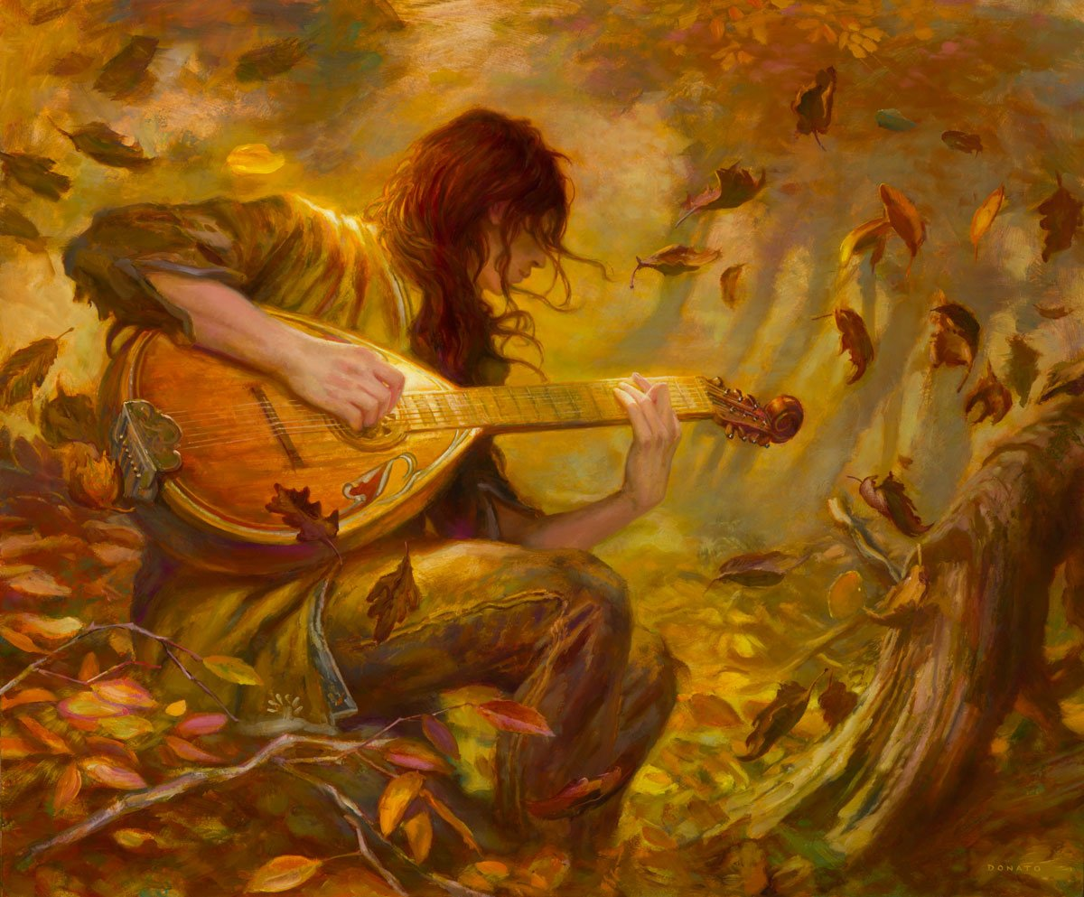 "Kvothe - chords 20"" x 24""  Oil on Panel   2017 demonstration painting for Art Out Loud 10, at the Society of illustrators in New York the main character from Patrick Rothfuss' brilliant novel The Name of the Wind collection of Shawn Speakman"