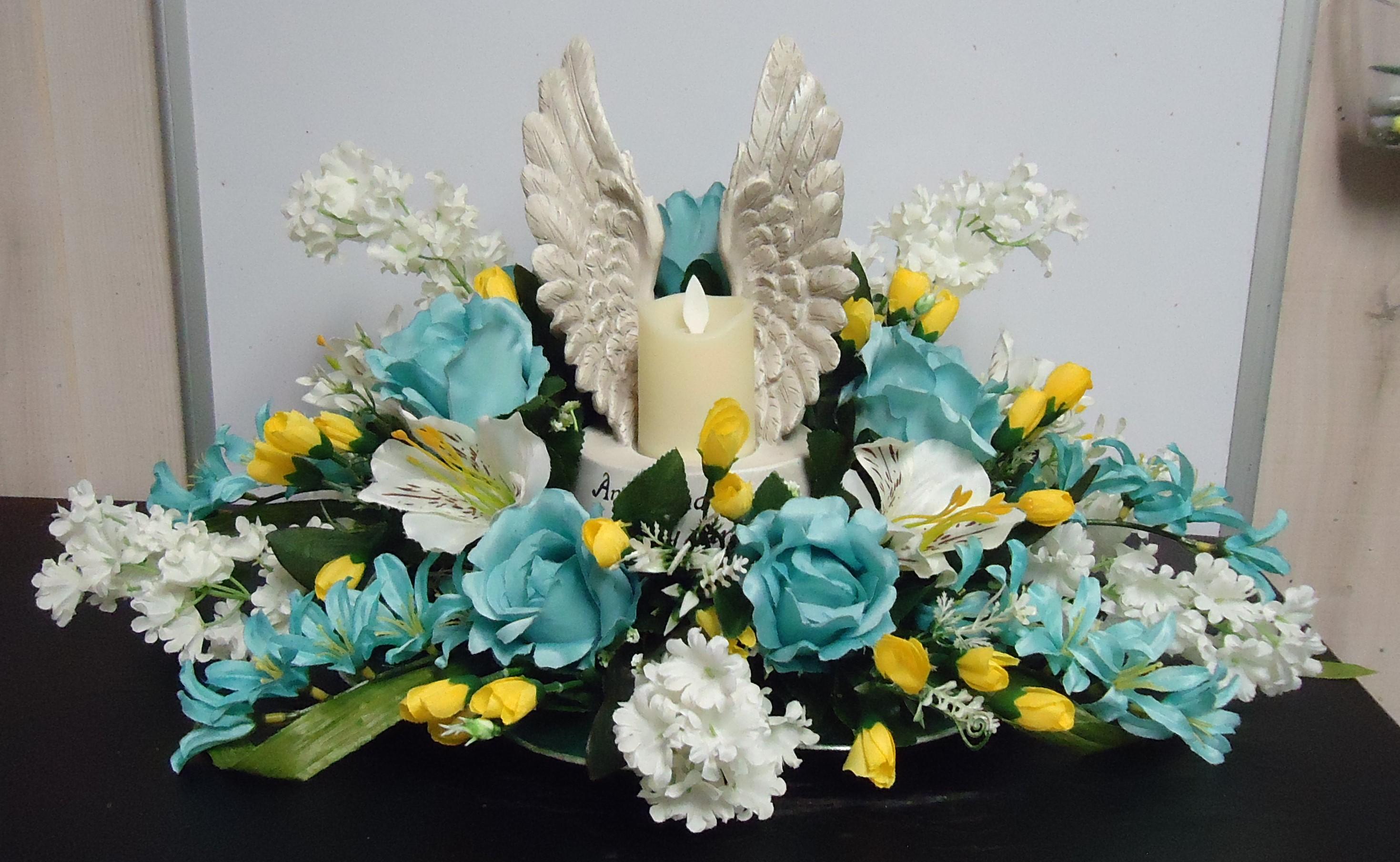 """(40)  """"SILK"""" Centerpiece W/ Angel Wings $45.00"""