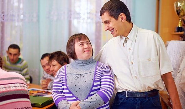 Happy People With Disability In Rehabilitation Center