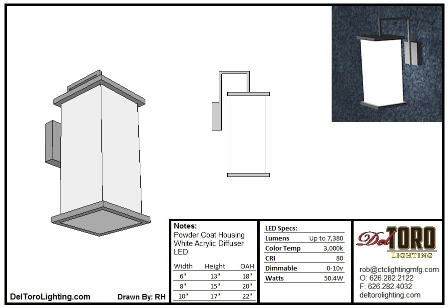 600W-Column Arm Wall Sconce
