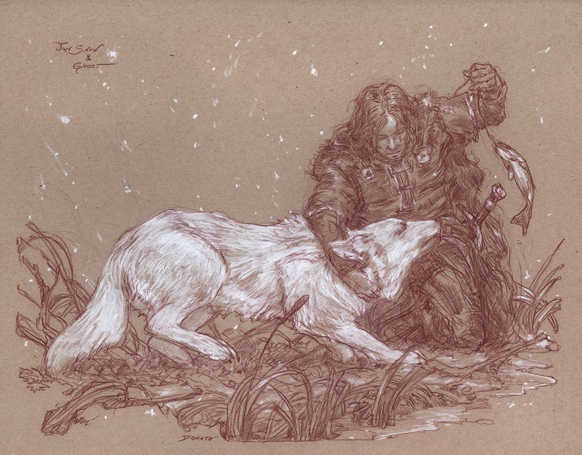"Jon Snow and Ghost 14"" x 11""  Watercolor and chalk on toned paper collection of Catherine Gyllerstrom"