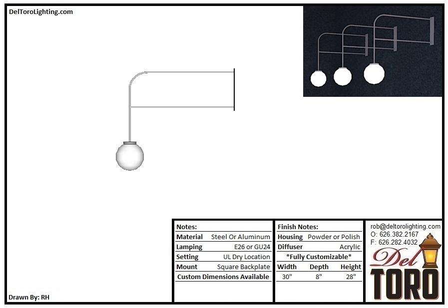 707W-Dual Arm Globe Sconce