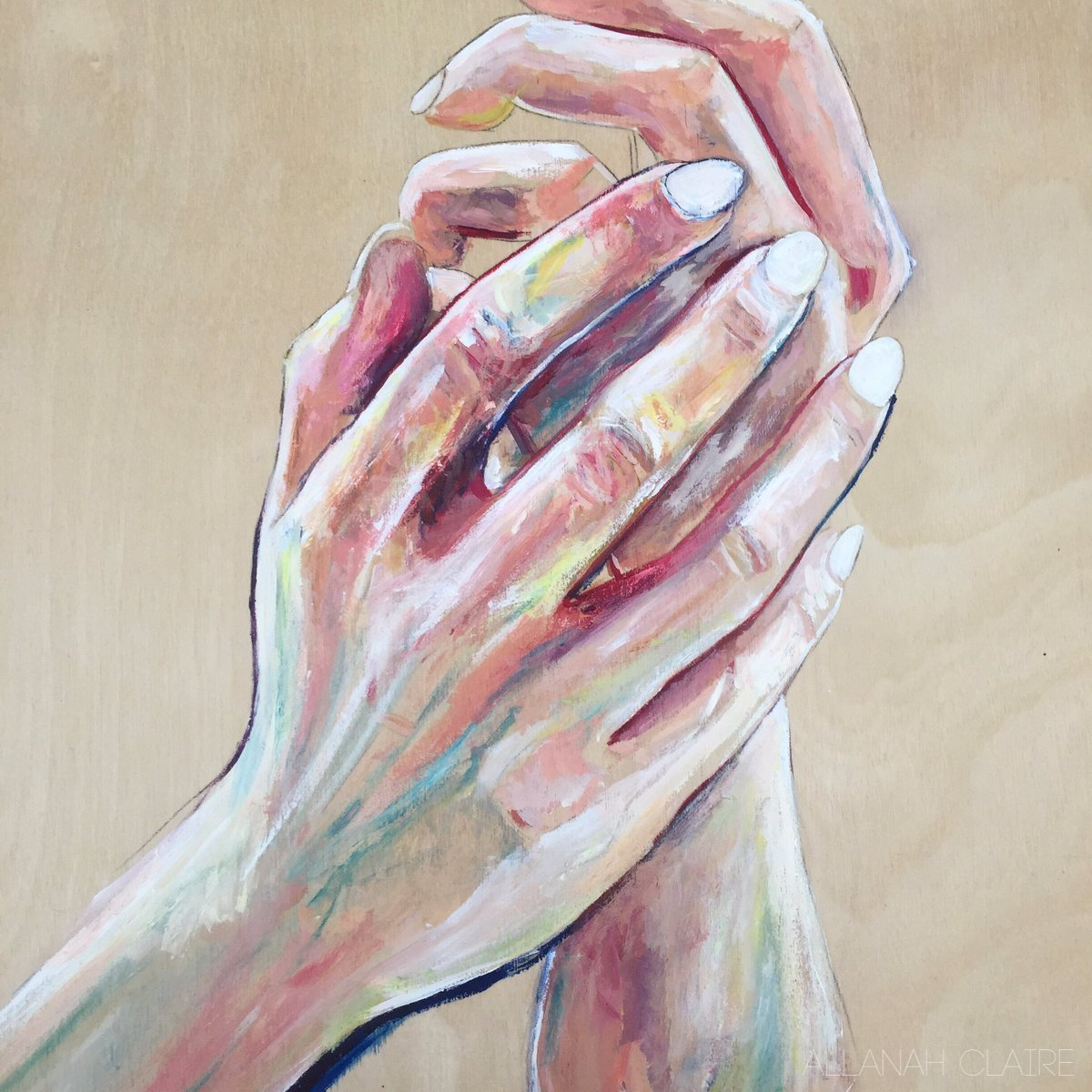 Hands, Acrylic on Wood, 2019.