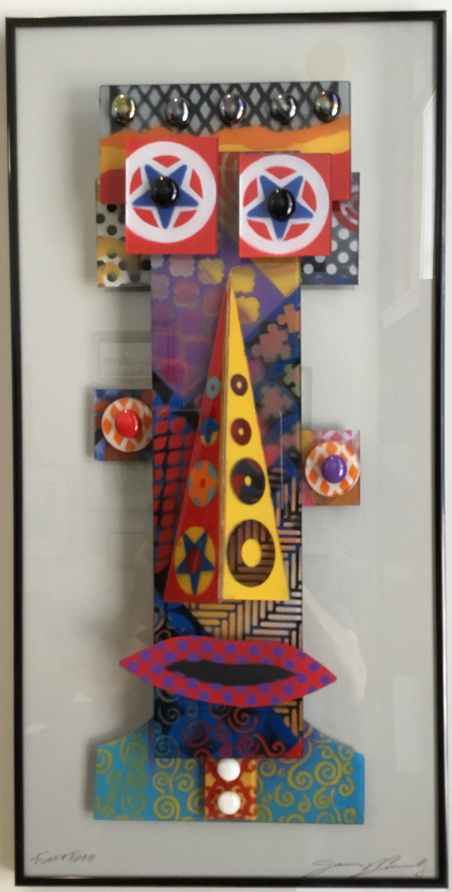 "Funky Face Glass Construction 12"" X 24"" $275."