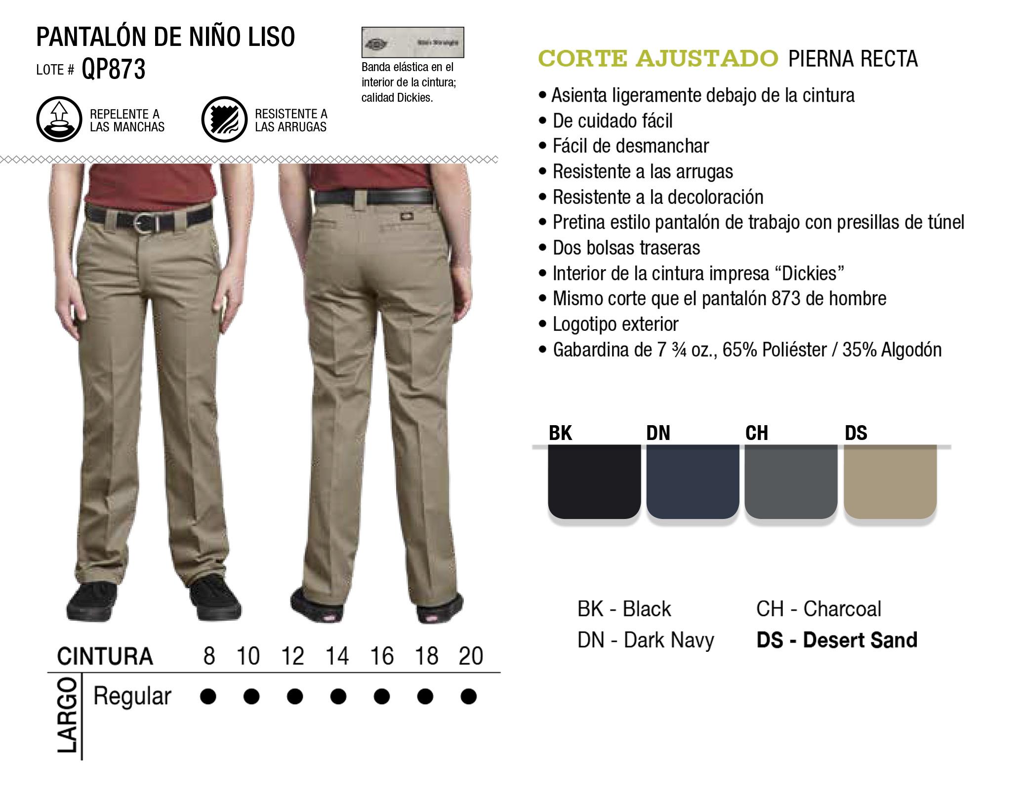 Pantalón de Niño Liso. Corte Recto. QP873.