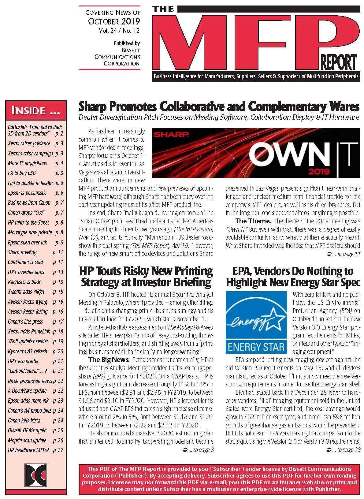 The MFP Report - September 2019 - Cover