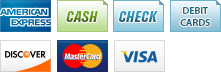 We accept American Express, Cash, Checks, Debit Cards, Discover, MasterCard and Visa.||||