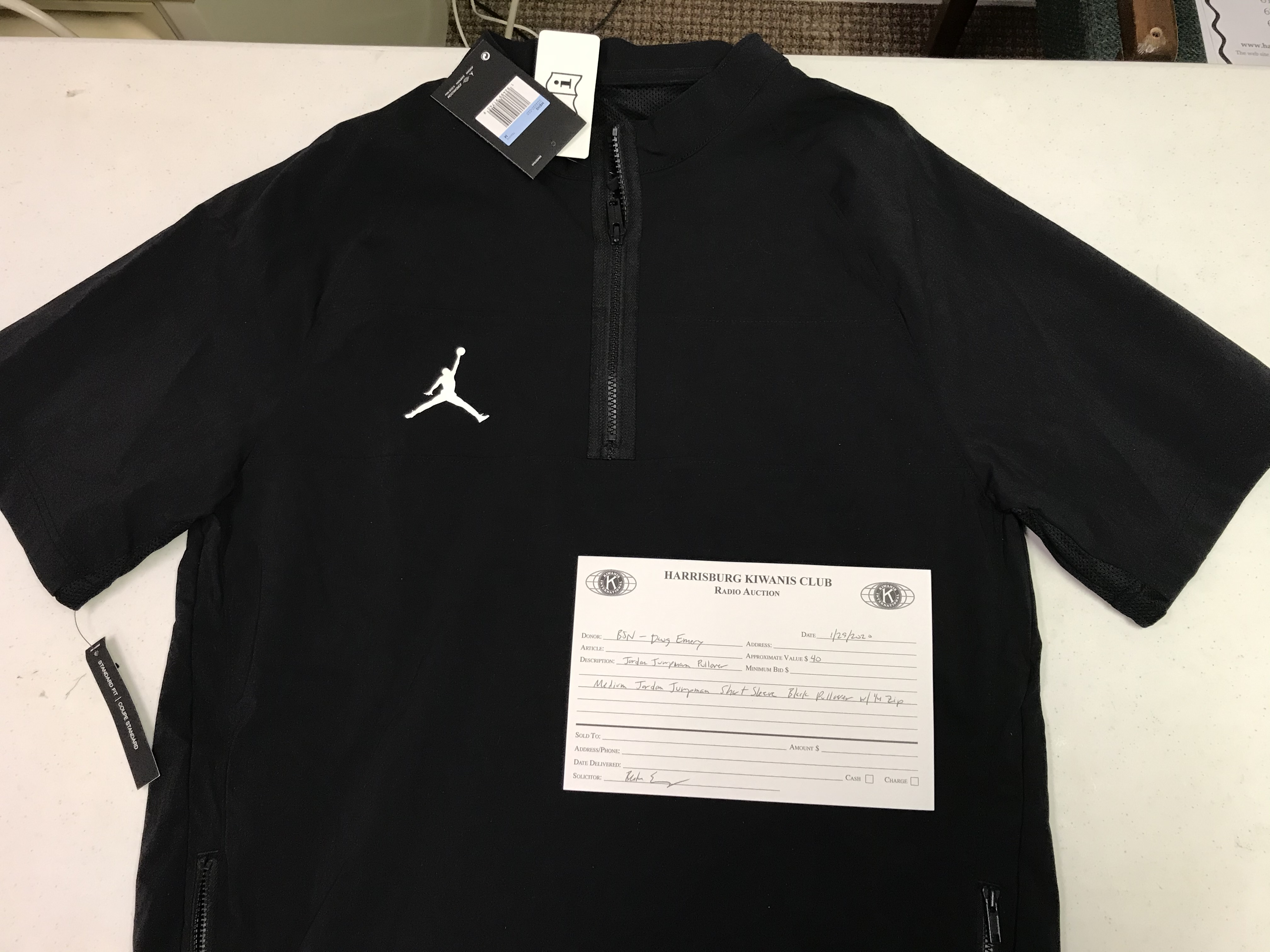 Item 406 - BSN - Doug Emery Jordan Jumpman Medium Pullover with 1/4 Zip