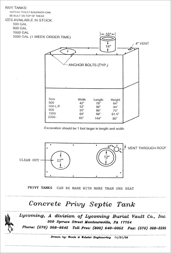 Concrete privy septic tank||||