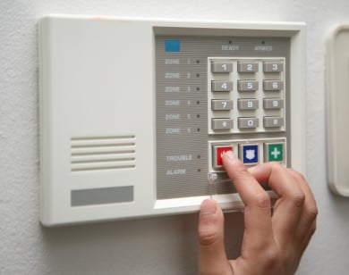 Pushing alarm system keypad